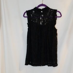 Heart Soul High Neck Cap Sleeve Lined Lace Top